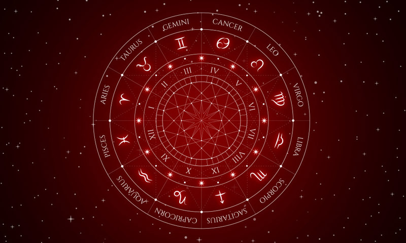 Star signs red universe background.